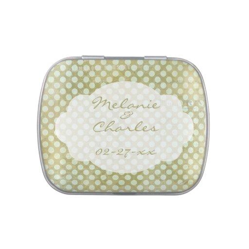 Puntos en la lata de encargo verde oliva del caram latas de caramelos
