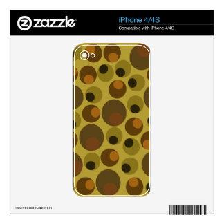 Puntos enrrollados de Brown iPhone 4S Calcomanías