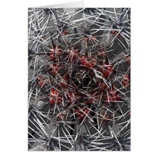 Puntos, espinas y agujas planta, cierre encima de  tarjeta de felicitación