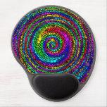 Puntos espirales del arco iris alfombrillas de ratón con gel