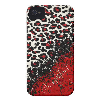 Puntos/falso del leopardo de PixDezines cordón Case-Mate iPhone 4 Carcasa