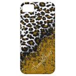 Puntos/falso del leopardo de PixDezines cordón iPhone 5 Cárcasa