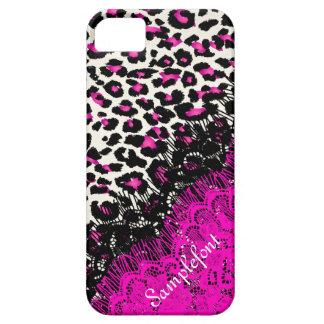 Puntos/falso del leopardo de PixDezines cordón iPhone 5 Cobertura