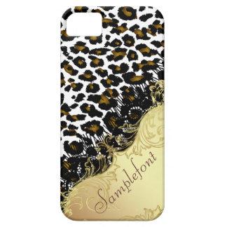 Puntos/falso del leopardo de PixDezines cordón Funda Para iPhone 5 Barely There