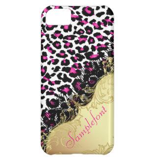 Puntos/falso del leopardo de PixDezines cordón Funda Para iPhone 5C