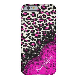 Puntos/falso del leopardo de PixDezines cordón Funda Para iPhone 6 Barely There