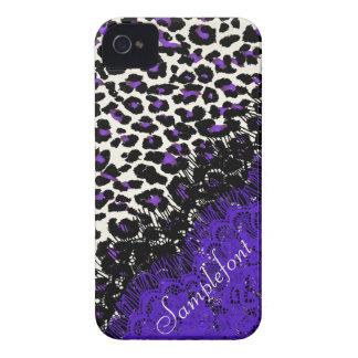 Puntos/falso del leopardo de PixDezines cordón iPhone 4 Cárcasa