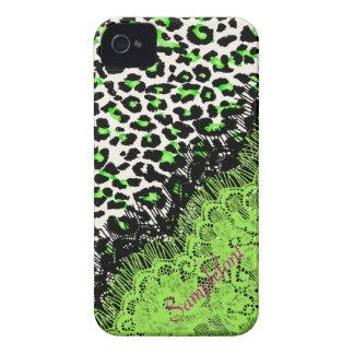 Puntos/falso del leopardo de PixDezines cordón iPhone 4 Carcasas