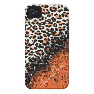 Puntos/falso del leopardo de PixDezines cordón iPhone 4 Case-Mate Protectores
