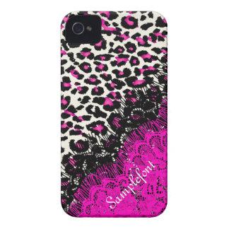 Puntos/falso del leopardo de PixDezines cordón iPhone 4 Coberturas