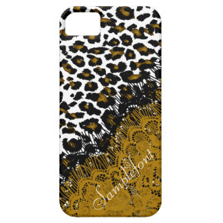 Puntos/falso del leopardo de PixDezines cordón iPhone 5 Fundas