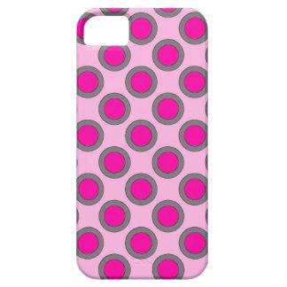 Puntos, fucsia, gris y rosa circundados retros funda para iPhone SE/5/5s
