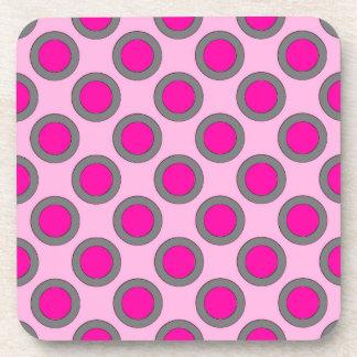 Puntos, fucsia, gris y rosa circundados retros posavaso