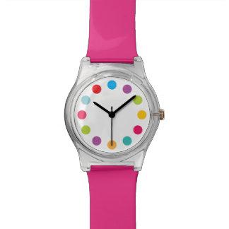 Puntos grandes del reloj brillante del arco iris d