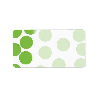 Puntos grandes del verde de guisante en blanco etiquetas de dirección