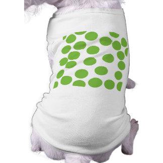 Puntos grandes del verde de guisante en blanco ropa de mascota