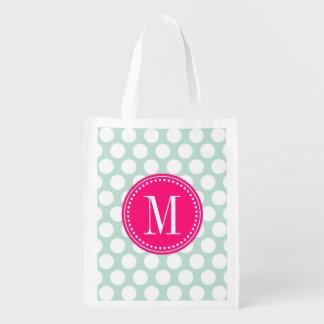 Puntos grandes elegantes de la menta y de las rosa bolsas de la compra
