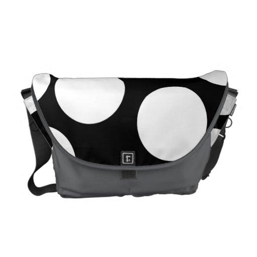 Puntos grandes en blanco y negro. bolsas de mensajeria