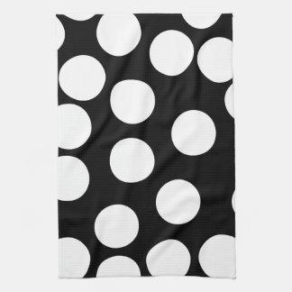 Puntos grandes en blanco y negro. toalla de cocina
