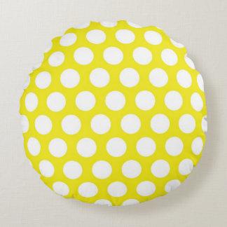 Puntos grandes en diseño amarillo cojín redondo