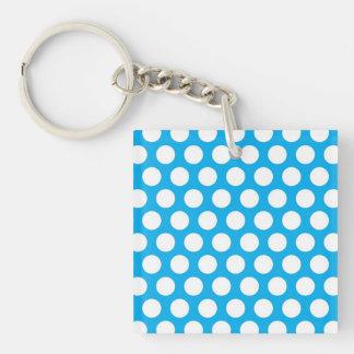 Puntos grandes en diseño azul llavero cuadrado acrílico a una cara
