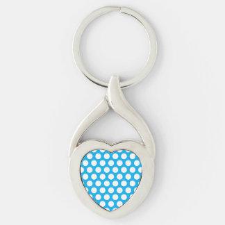 Puntos grandes en diseño azul llavero plateado en forma de corazón