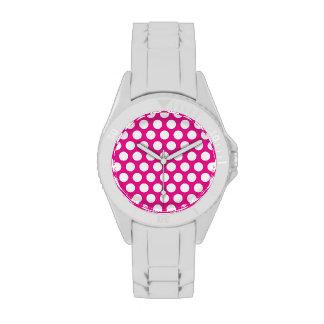 Puntos grandes en diseño de las rosas fuertes relojes de pulsera