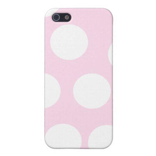Puntos grandes Pern. Palidezca - rosa y blanco iPhone 5 Carcasas
