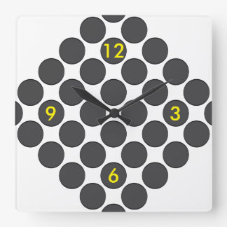 Puntos gris oscuro tejados reloj cuadrado