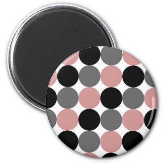 Puntos grises y rosados negros imán redondo 5 cm