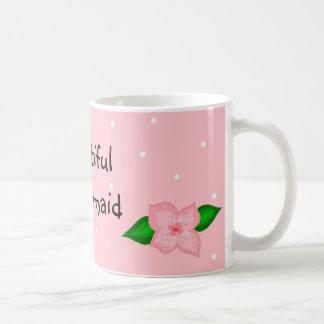 Puntos hermosos del rosa de la dama de honor taza clásica