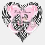 Puntos lindos de la cebra del rosa de la niña de colcomanias de corazon