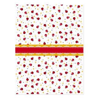 Puntos negros blancos rojos femeninos lindos de tarjetas postales