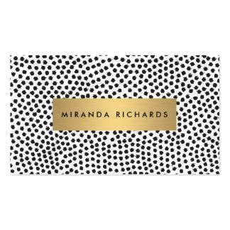 Puntos negros de lujo del confeti con la barra de tarjetas de visita