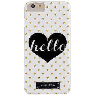 Puntos negros del oro del corazón el   de la moda funda de iPhone 6 plus barely there
