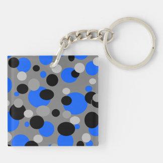 Puntos negros y azules grises llavero cuadrado acrílico a doble cara