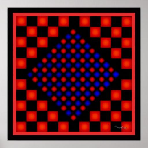 Puntos nerviosos del rojo azul póster