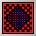 Puntos nerviosos del rojo azul posters