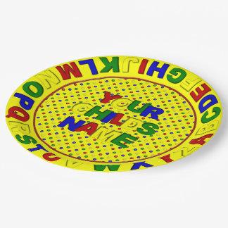 Puntos primarios alfabeto, placa del plato de papel de 9 pulgadas