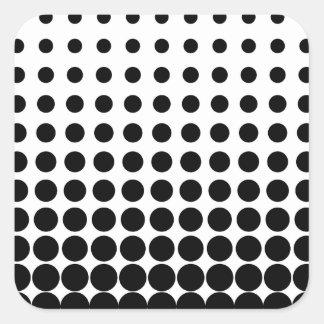 Puntos progresivos blancos y negros pegatinas cuadradas personalizadas