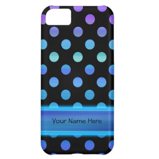 Puntos púrpuras azules en negro funda para iPhone 5C