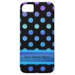 Puntos púrpuras azules en negro iPhone 5 carcasas