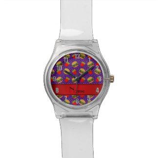 Puntos púrpuras conocidos personalizados de las relojes de mano