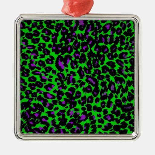 Puntos púrpuras del leopardo en verde adorno de reyes