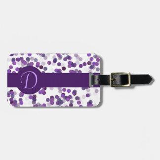 Puntos púrpuras del monograma etiquetas bolsas