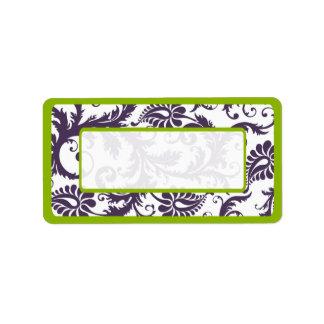 Puntos púrpuras verdes y de Lapis del damasco Etiqueta De Dirección