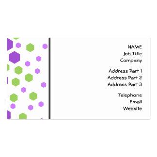 Puntos púrpuras y verdes del hexágono tarjetas de visita