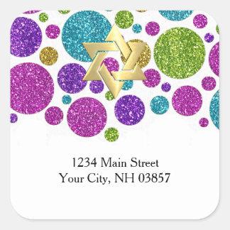Puntos relucientes coloridos en cualquier remite pegatina cuadrada