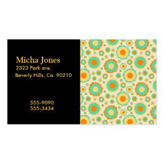 Puntos retros del Hippie en naranja, verde, y more Tarjetas De Visita