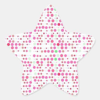 Puntos retros en rosa y verde pegatina en forma de estrella